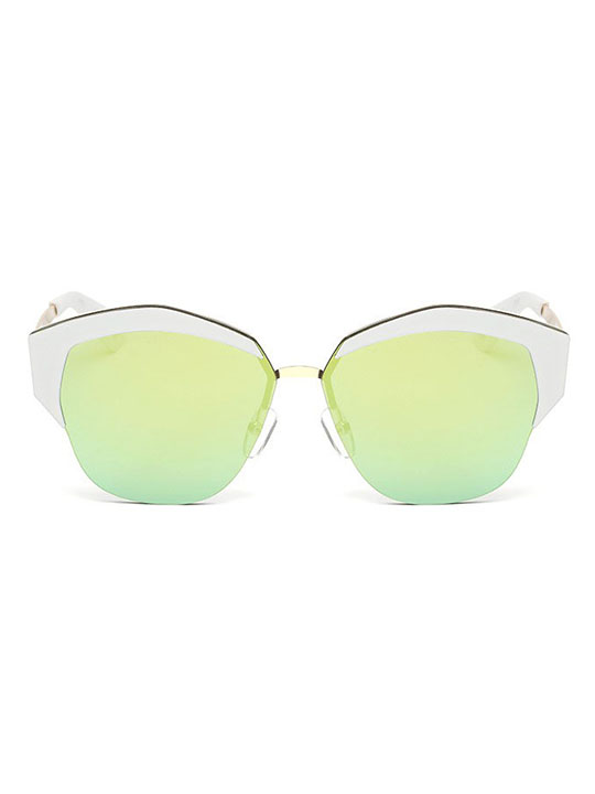 white green mirror lens sunglasses