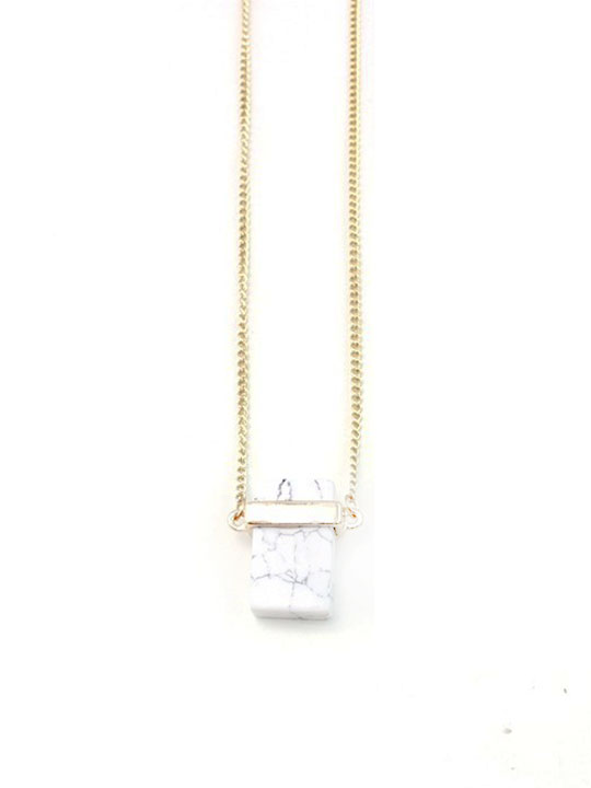 Cube White Marble Pendant Necklace
