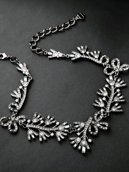 Floral Cystal Statement Necklace 3