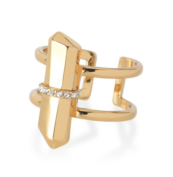 pave natural stone gold ring