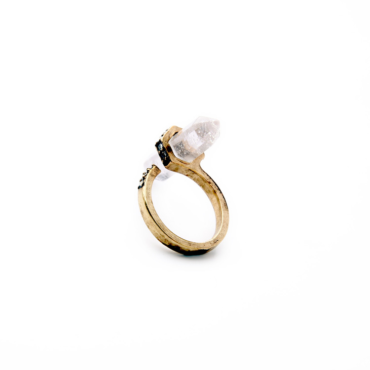 clear druzy stone pave ring