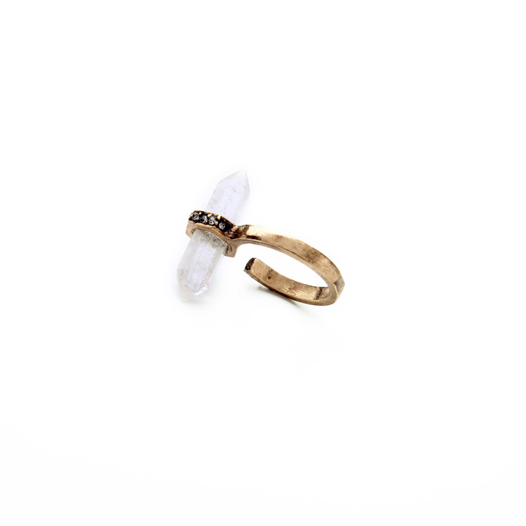 clear natural stone pave ring 2