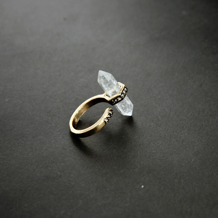 druzy clear natural stone pave ring