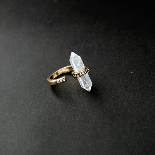 druzy natural stone pave ring
