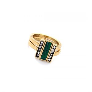malachite ring set