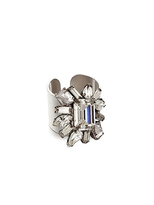 floral crystal cuff ring