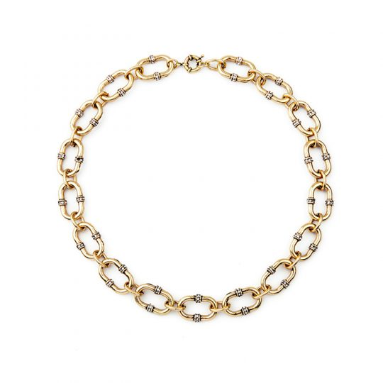 Bevel Stone Chain Link Collar Necklace 1