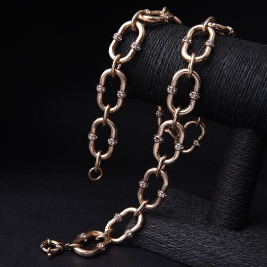 Bevel Stone Chain Link Collar Necklace 2