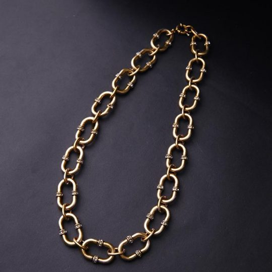 Bevel Stone Chain Link Collar Necklace 3
