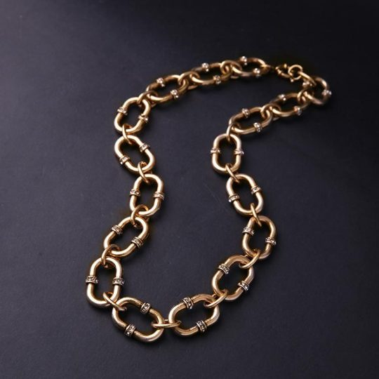 Bevel Stone Chain Link Collar Necklace 4