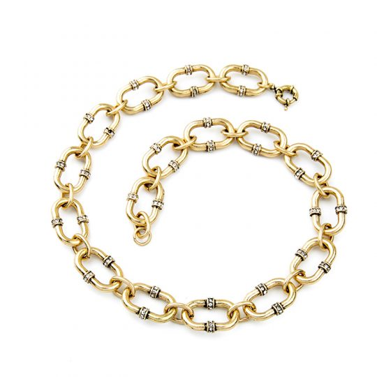 Bevel Stone Chain Link Collar Necklace 5
