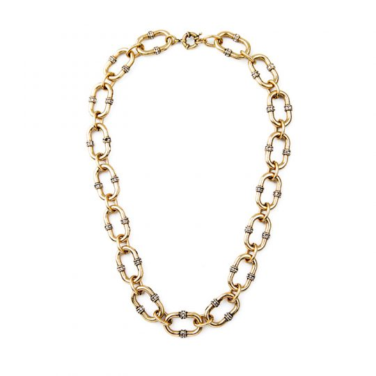 Bevel Stone Chain Link Collar Necklace 8