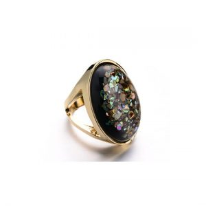black iridescent Stone ring