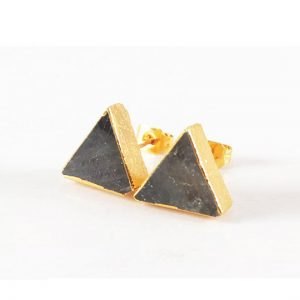gray stone triangle stud earring