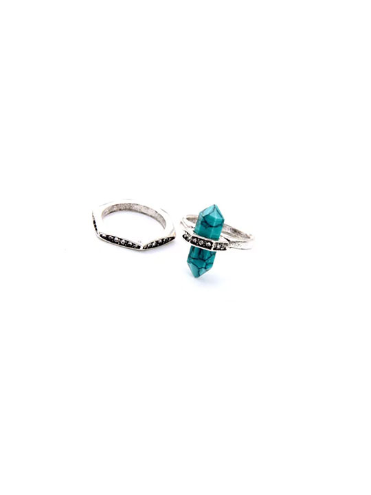 turquoise natural stone rings