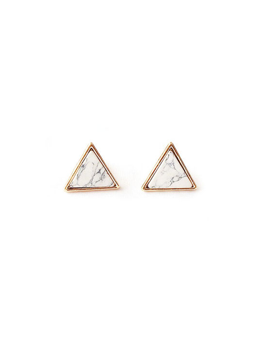 Earrings 2 White Marble Triangle Studs 3