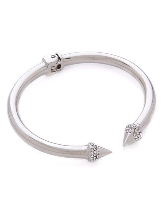 silver pave stone open bracelet