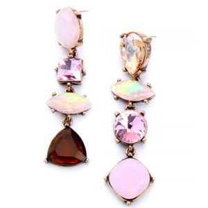 pink iridescent stone earrings