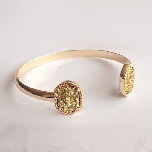 gold titanium druzy bracelet