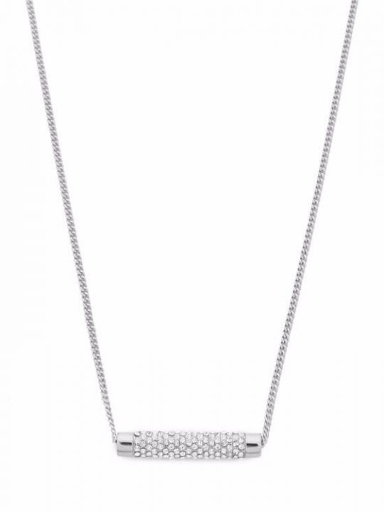 silver pave bar necklace
