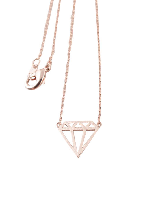 rose gold Diamond shape necklace