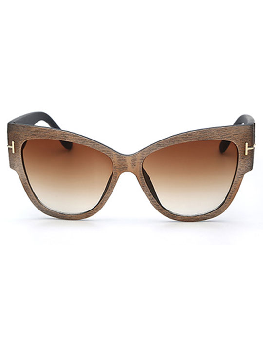 walnut wood cat eye sunglasses