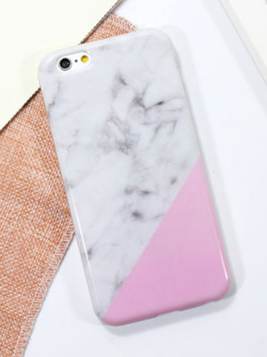 pink white marble iphone case