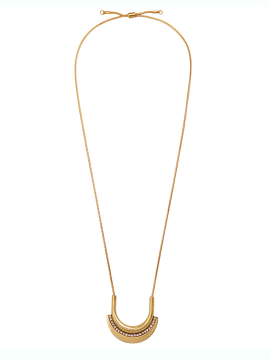 Pave arc gold pendant necklace