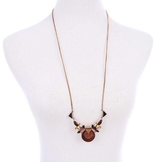 Walnut Wood Statement Pendant Necklace 3