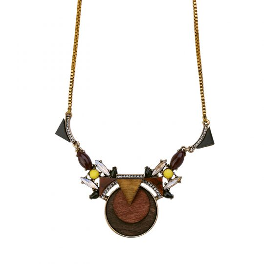 Walnut Wood Statement Pendant Necklace 6
