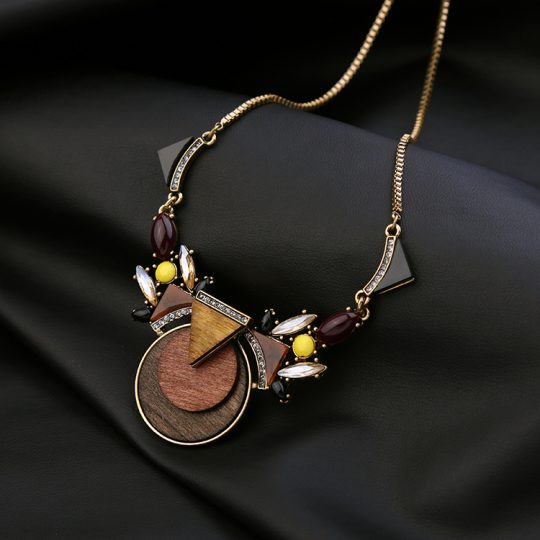 Walnut Wood Statement Pendant Necklace 7