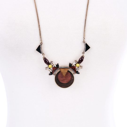 Walnut Wood Statement Pendant Necklace 8