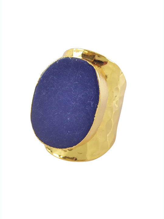 lapis druzy statement ring
