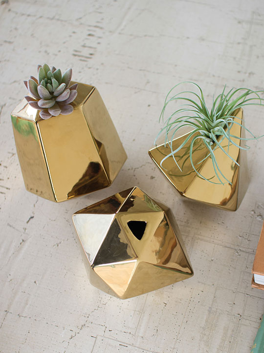 gold ceramic geometric vase set