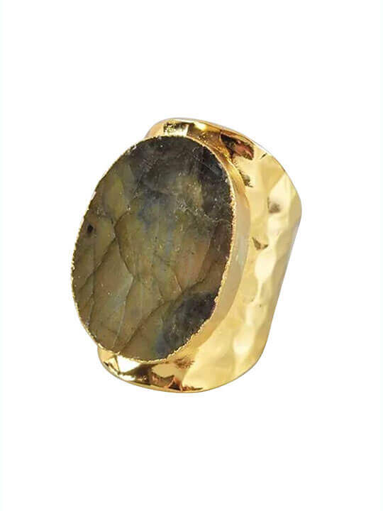 labradorite stone statement ring