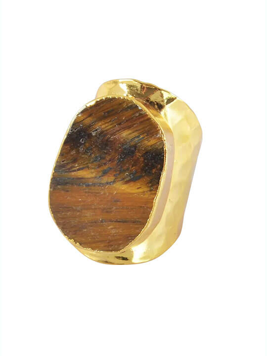 tigers eye stone statement ring