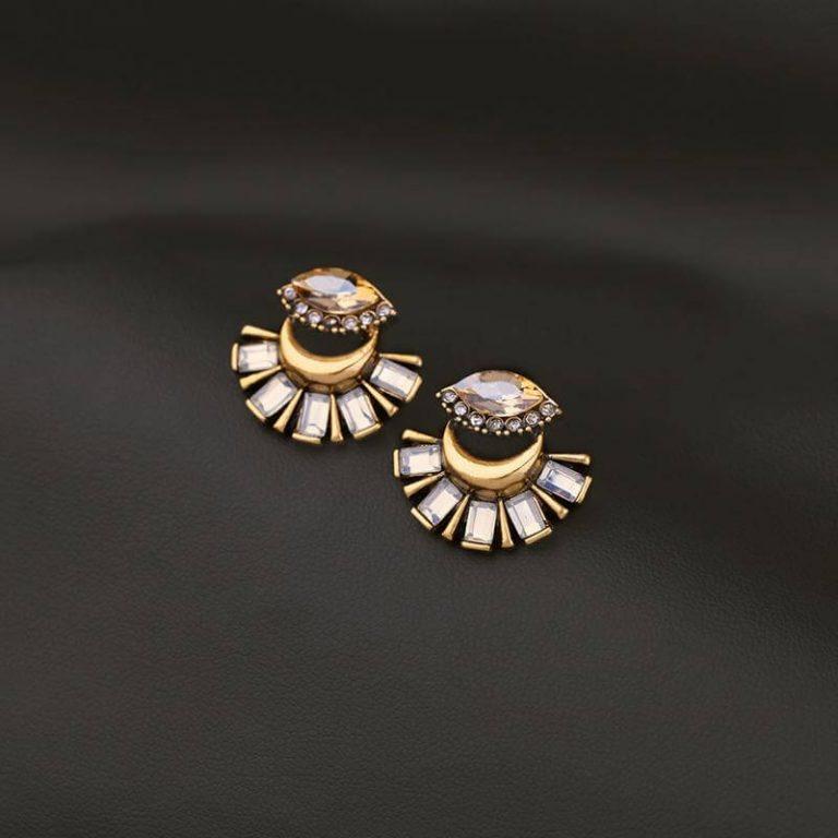 Crystal fan statement drop earrings (1)