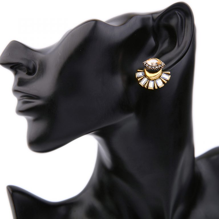 Crystal fan statement drop earrings 3