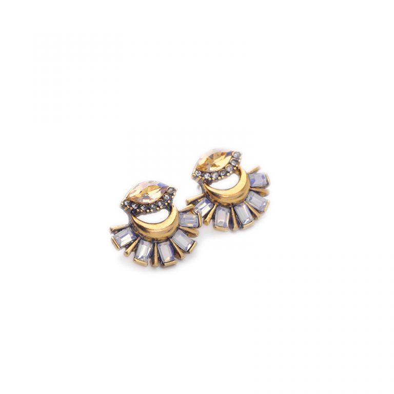 Crystal fan statement drop earrings 5