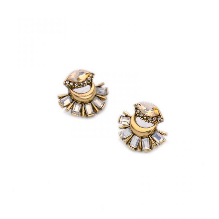 Crystal fan statement drop earrings 6