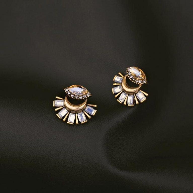 Crystal fan statement drop earrings 7