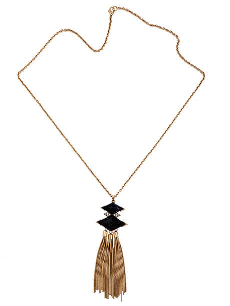 black geometric stone pendant