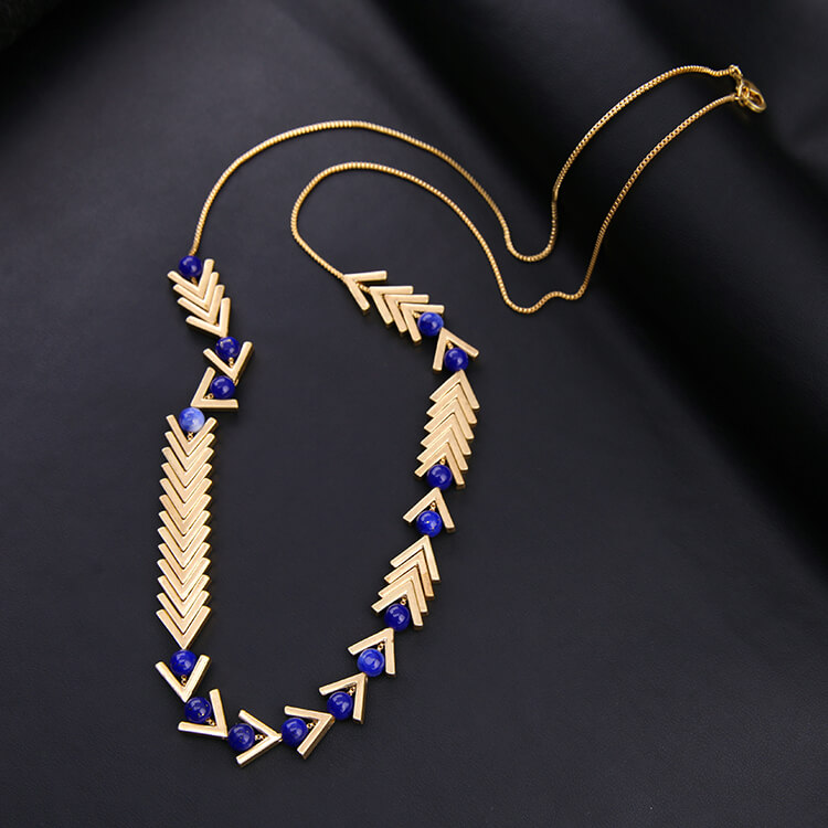 lapis long necklace gift for birthday