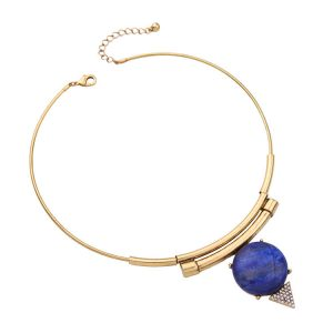 modern gold blue collar necklace