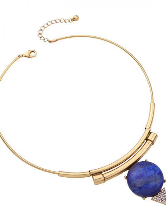 modern gold blue collar necklace