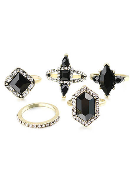 decorative black stone ring set for her