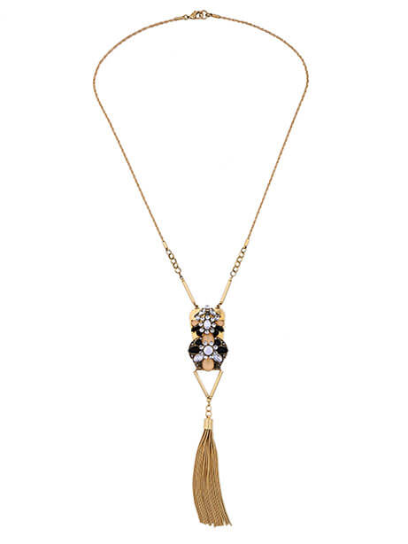 gold-multicolor-stone-tassel-necklace