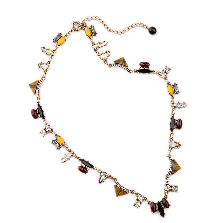 detail of locust crystal design collar statement necklace for women