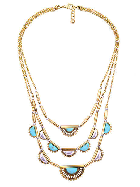 pearl turquoise chain statement necklace gift
