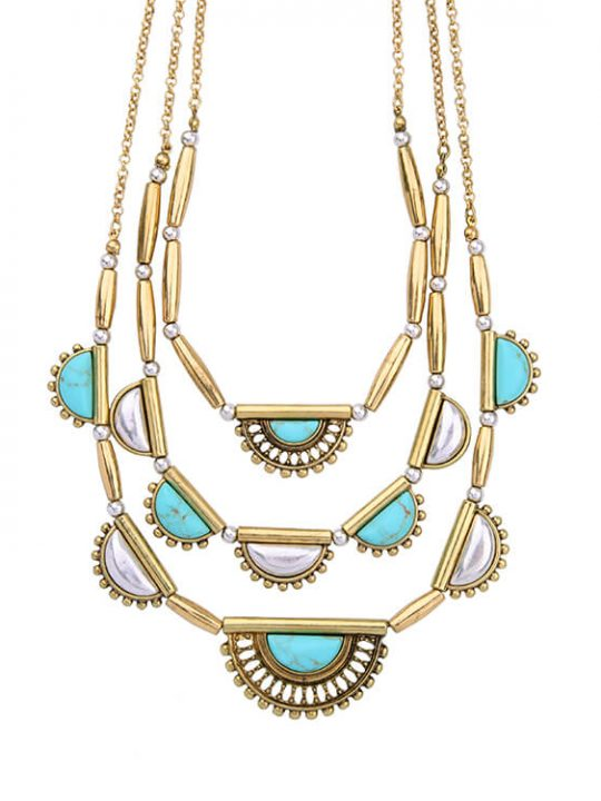 turquoise pearl layer necklace